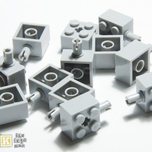 Lego Light Grey Brick 2x2 with Pin Axlehole