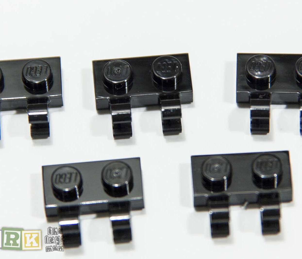 NEW Lego 60470 Job Lot 5x Black Plate 1x2 with Clips Horizontal 4556158
