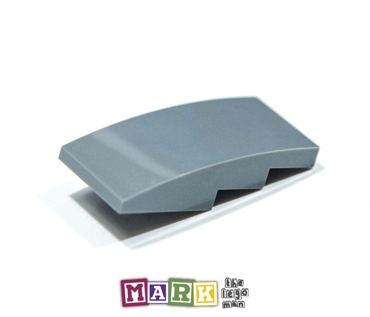 Lego 6005668 93606 1x Dark Blueish Grey Dark Stone Dark Standard Grey 2x4 Slope Brick With Bow