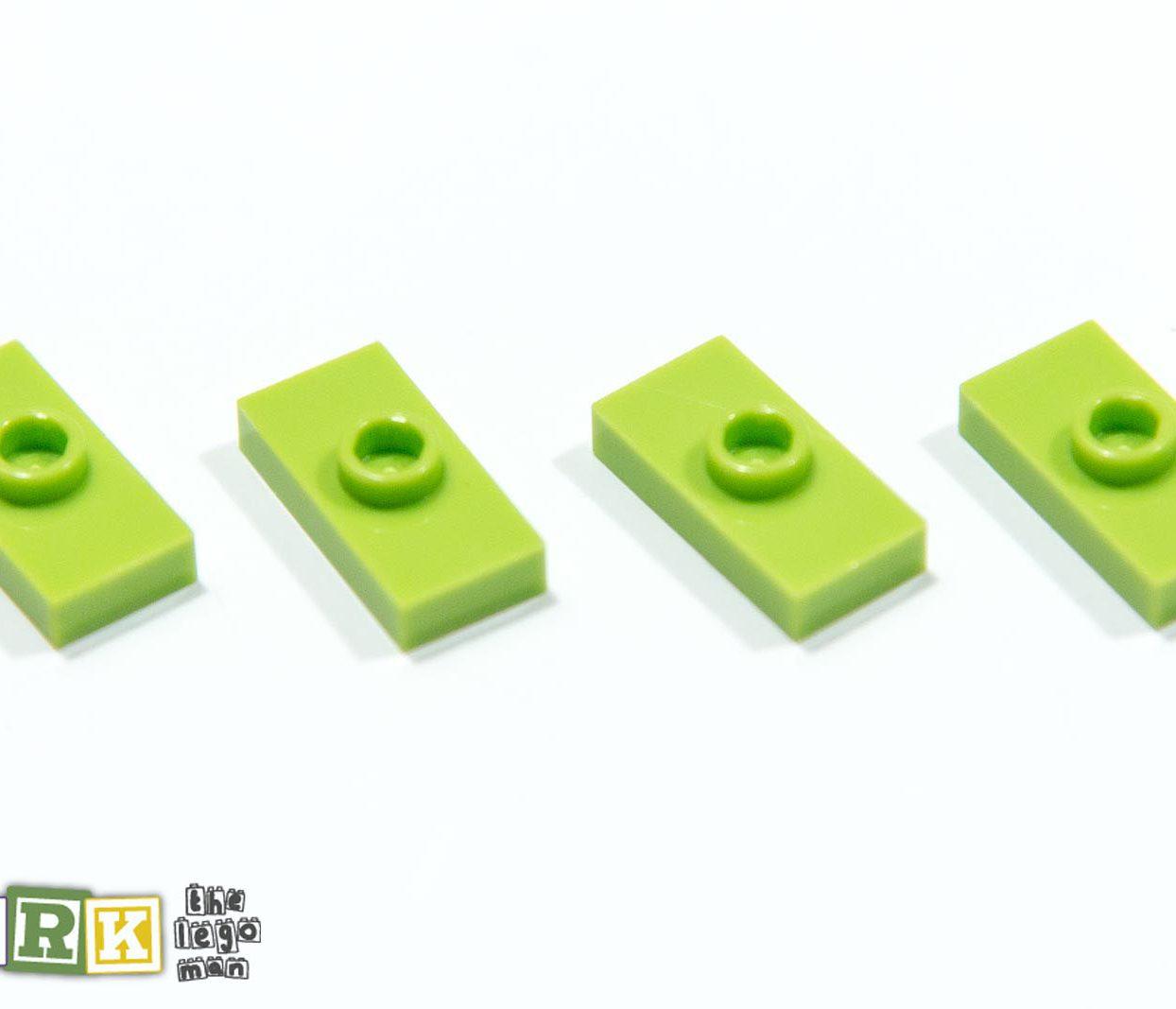4500069 3794 Job Lot 4x Bright Yellow Green 1x2 Plate With 1 Knob Stud