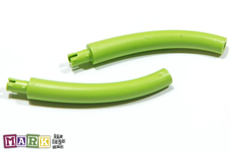 Lego 2x Bright Yellow Green Curved Pole, Tube with connecter peg on one side