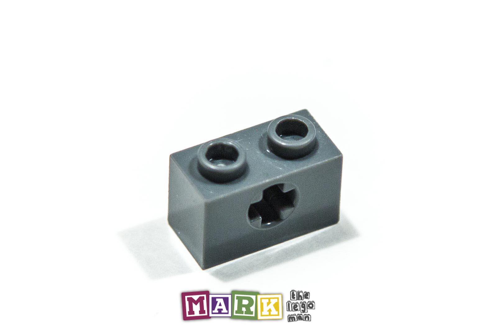 10x Black Lego Technic Brick 1 x 2 with Hole 3700