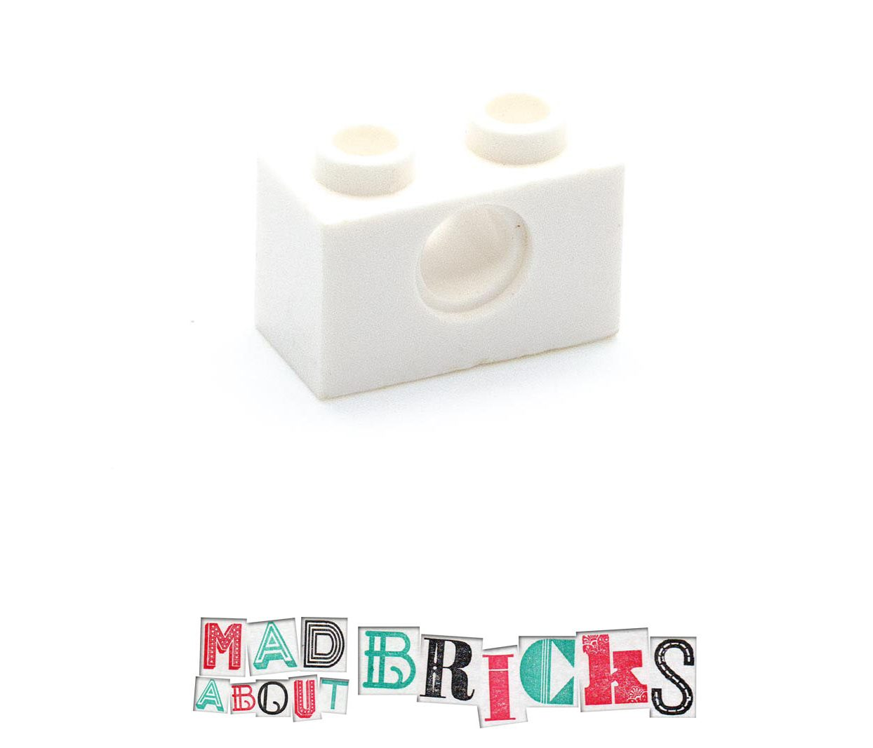 Lego 370001 3700 White 1x2 Technic Brick with hole front
